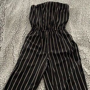 BRAND NEW striped strapless cropped jumpsuit